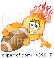 Clipart Of A Comet School Mascot Character Holding Out A Football Royalty Free Vector Illustration by Toons4Biz
