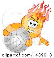 Comet School Mascot Character Holding Out A Volleyball