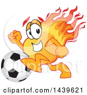 Clipart Of A Comet School Mascot Character Playing Soccer Royalty Free Vector Illustration by Toons4Biz