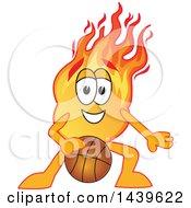 Comet School Mascot Character Dribbling A Basketball