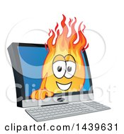 Clipart Of A Comet School Mascot Character Emerging From A Computer Screen Royalty Free Vector Illustration by Toons4Biz