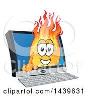 Comet School Mascot Character Emerging From A Computer Screen
