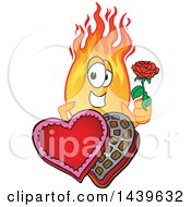 Poster, Art Print Of Comet School Mascot Character Holding A Rose Over A Valentines Day Candy Box