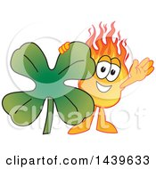 Comet School Mascot Character With A Lucky Four Leaf St Patricks Day Shamrock Clover