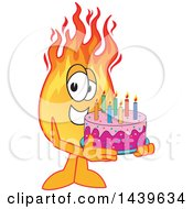 Comet School Mascot Character Holding A Birthday Cake