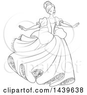 Black And White Lineart Young Lady Cinderella Dancing In A Gown