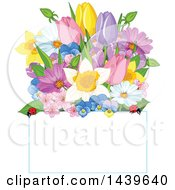 Clipart Of A Bunch Of Flowers With Ladybugs Over A Sign Royalty Free Vector Illustration by Pushkin