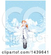 Clipart Of A Red Haired Caucasian Girl In A Winter Landscape Royalty Free Vector Illustration