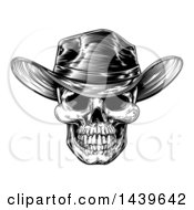 Black And White Woodcut Etched Or Engraved Cowboy Skull