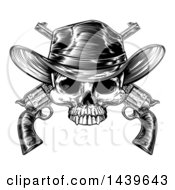Black And White Woodcut Etched Or Engraved Cowboy Skull Over Crossed Pistols