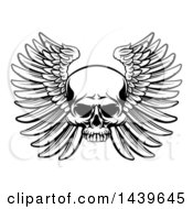 Clipart Of A Black And White Woodcut Etched Or Engraved Winged Skull Royalty Free Vector Illustration by AtStockIllustration