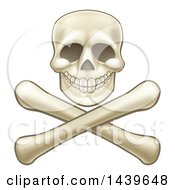 Clipart Of A Human Skull Over Crossbones Royalty Free Vector Illustration