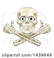 Clipart Of A Human Skull With Eyeballs Over Crossbone Arms Giving Thumbs Up Royalty Free Vector Illustration