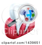 Clipart Of A Magnifying Glass Over A Tooth Displaying Bacteria And A Shield Royalty Free Vector Illustration by AtStockIllustration