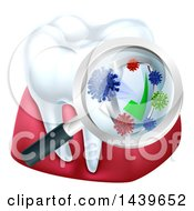 Clipart Of A 3d Tooth And Gums With A Magnifying Glass Over A Protective Dental Shield Royalty Free Vector Illustration