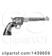 Clipart Of A Black And White Woodcut Etched Or Engraved Vintage Pistol Royalty Free Vector Illustration