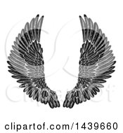 Poster, Art Print Of Black And White Pair Of Feathered Wings In Woodcut Style
