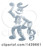 Clipart Of A 3d Music Note Man Mascot Dancing Royalty Free Vector Illustration