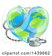 3d Medical Stethoscope Around A Heart Earth Globe