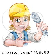 Cartoon Happy White Female Plumber Holding An Adjustable Wrench And Pointing