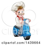 Cartoon Happy White Male Chef On A Delivery Scooter