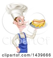 White Male Chef With A Curling Mustache Holding A Hot Dog And Fries On A Platter