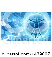 Clipart Of A Vitruvian Over An Electric Blue Hexagon Background Royalty Free Vector Illustration by AtStockIllustration
