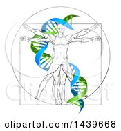 Clipart Of A Vitruvian Man With A Green And Blue Double Helix Royalty Free Vector Illustration