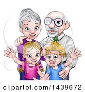 Cartoon Happy Caucasian Boy And Girl With Their Grandparents