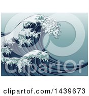 Clipart Of A Vintage Styled Japanese Great Wave Royalty Free Vector Illustration