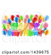 Clipart Of A Colorful Happy Birthday Greeting With Confetti Ribbons And Party Balloons Royalty Free Vector Illustration