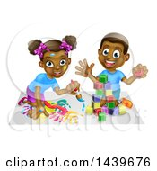 Clipart Of A Cartoon Happy Black Boy And Girl Kneeling And Painting And Playing With Blocks Royalty Free Vector Illustration