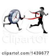 Clipart Of A Silhouetted Woman Running Through A Finish Line Before A Clock Character Royalty Free Vector Illustration