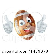 Clipart Of A Happy American Football Character Mascot Giving Two Thumbs Up Royalty Free Vector Illustration