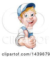 Cartoon Happy White Male Worker Giving A Thumb Up Around A Sign