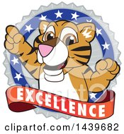 Clipart Of A Tiger Cub School Mascot Character On An Excellence Badge Royalty Free Vector Illustration