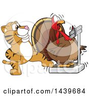 Tiger Cub School Mascot Character Stepping On A Scale While A Turkey Weighs Himself