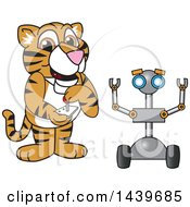 Clipart Of A Tiger Cub School Mascot Character Operating A Robot Royalty Free Vector Illustration