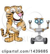 Poster, Art Print Of Tiger Cub School Mascot Character Operating A Robot
