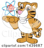 Clipart Of A Tiger Cub School Mascot Character Holding An Atom Royalty Free Vector Illustration