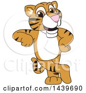 Clipart Of A Tiger Cub School Mascot Character Leaning Royalty Free Vector Illustration by Toons4Biz