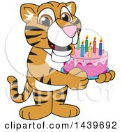 Clipart Of A Tiger Cub School Mascot Character Holding A Birthday Cake Royalty Free Vector Illustration