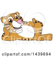 Clipart Of A Tiger Cub School Mascot Character Relaxing Royalty Free Vector Illustration