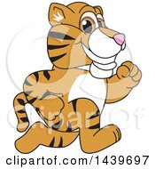 Clipart Of A Tiger Cub School Mascot Character Running Royalty Free Vector Illustration