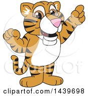 Clipart Of A Tiger Cub School Mascot Character Holding Up A Finger Royalty Free Vector Illustration