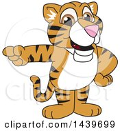 Clipart Of A Tiger Cub School Mascot Character Pointing Royalty Free Vector Illustration