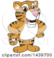 Clipart Of A Tiger Cub School Mascot Character Royalty Free Vector Illustration by Toons4Biz