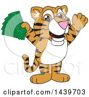 Clipart Of A Tiger Cub School Mascot Character Holding Cash Money Royalty Free Vector Illustration