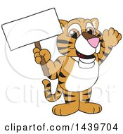 Clipart Of A Tiger Cub School Mascot Character Holding A Blank Sign Royalty Free Vector Illustration