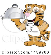 Clipart Of A Tiger Cub School Mascot Character Waiter Holding A Cloche Platter Royalty Free Vector Illustration